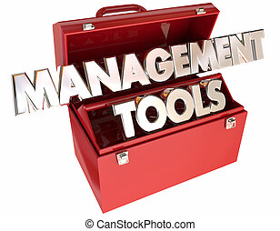 gestion, mener, cadre, mots, équipe, organisation, boîte outils, outils, 3d