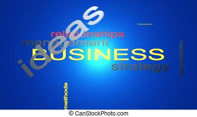 gestion, mot, business, texte, stratégie, animation, nuage