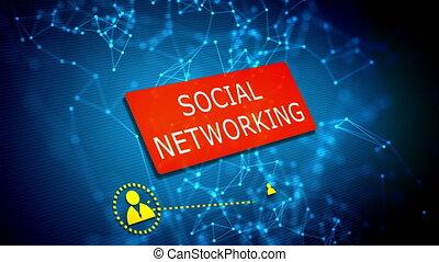 gestion réseau, concept, technologie, social