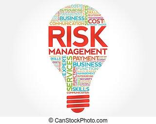 gestion, risque, ampoule, mot, nuage