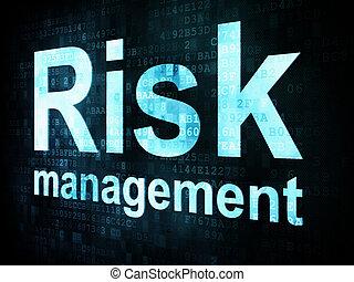 gestion, risque, render, écran, pixelated, mots, numérique, concept:, 3d