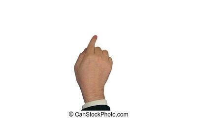 gestures., touchscreen, main, mâle