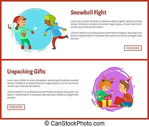 gfts, combat snowball, cartes postales, noël, déballage