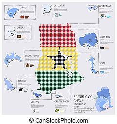 ghana, carte, drapeau, infographic, conception, point
