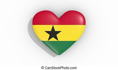 ghana, coeur, couleurs, drapeau, impulsions, boucle