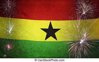 ghana, vrai, concept, grunge, tissu, drapeau, feud'artifice