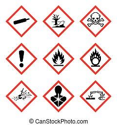 ghs, pictogram., vecteur, nouveau, panneau avertissement, isolé, whmis, danger, ), 9, illustration, (