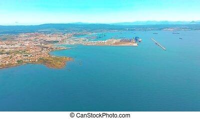 gibraltar, gibraltar, europe., port, vue, baie, uni, algeciras., royaume, cargaison