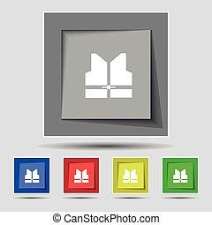 gilet, buttons., coloré, fonctionnement, signe, vecteur, cinq, original, icône