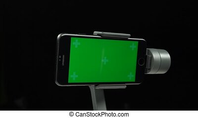 gimbal, écran, vert, stabilisateur, steadicam, smartphone.