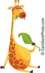 girafe, vecteur, illustration, rigolote, cartoon., isolé
