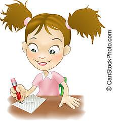 girl, écriture, jeune, bureau, elle