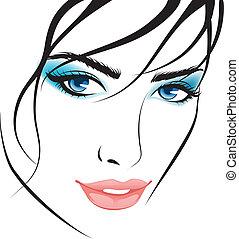 girl, éléments, conception, face., beauté