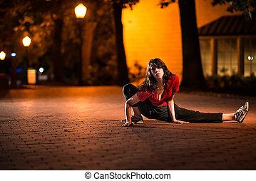 girl, étirage, nuit