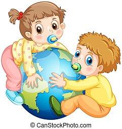 girl, étreindre, garçon, tout petits enfants, la terre