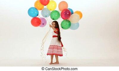 girl, a, ballons, lot