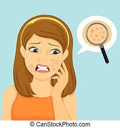girl, acné