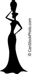 girl, africaine, silhouette
