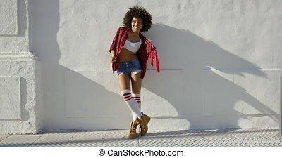 girl, américain, beau, africaine, mode