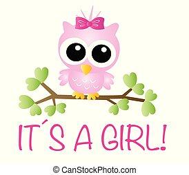 girl, annonce, nouveau-né