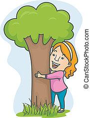 girl, arbre étreindre