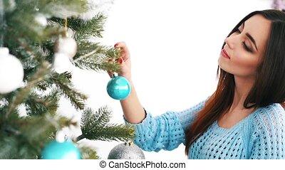 girl, arbre, haut, robes, noël