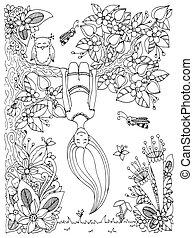 girl, arbre, zen, anti, white., livre, vecteur, dessus, griffonnage, floral, illustration, noir, pend, adults., coloration, bas., tension, enchevêtrement, frame.
