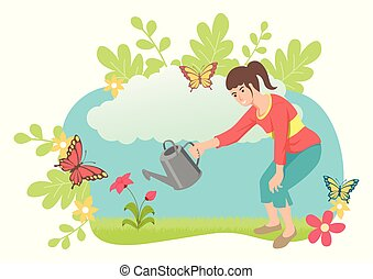 girl, arroser plante
