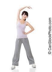 girl, asiatique, fitness