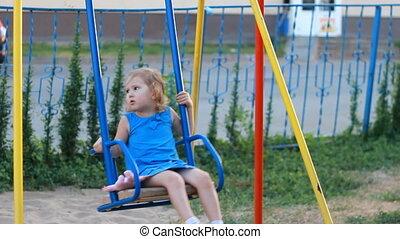 girl, balance, balançoire cour, enfant