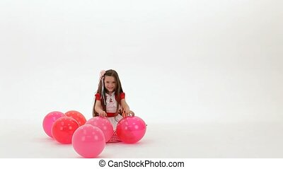 girl, ballons, jouer