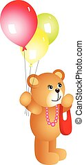 girl, ballons, ours, teddy
