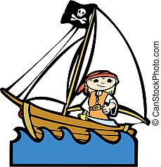 girl, bateau, pirate