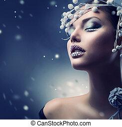girl, beauté, maquillage, hiver, woman., noël