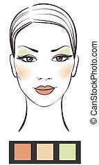girl, beauté, maquillage, illustration, figure, vecteur