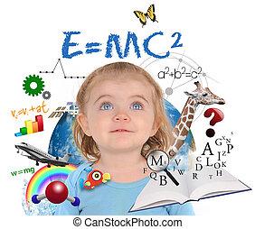 girl, blanc, education, école, apprentissage