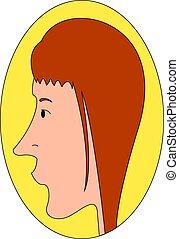 girl, blanc rouge, illustration, cheveux, profil, vecteur, fond