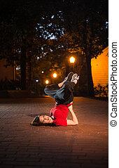 girl, breakdancing, nuit
