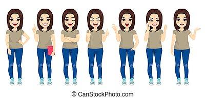 girl, brunette, ensemble, adolescent, collection