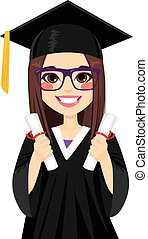 girl, brunette, remise de diplomes
