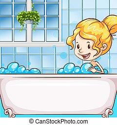 girl, bulles, bain