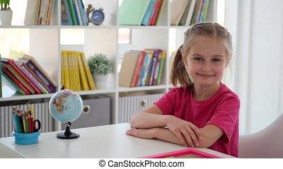 girl, bureau, séance, école primaire