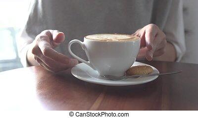 girl, café, boire, jeune, latte.