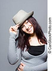 girl, chapeau, gris
