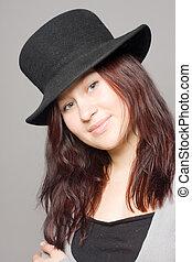 girl, chapeau