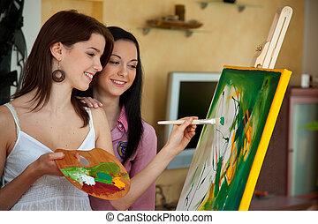 girl, chevalet, peinture, jeune