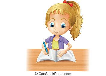 girl, chevelu, écriture