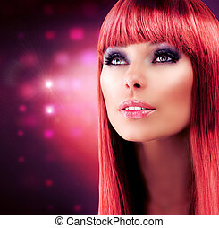 girl, cheveux, chevelure, portrait., modèle, rouges, sain, long, beau
