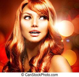 girl, cheveux, long, sain, rouges, beau