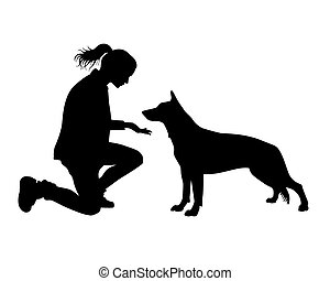 girl, chien, .eps